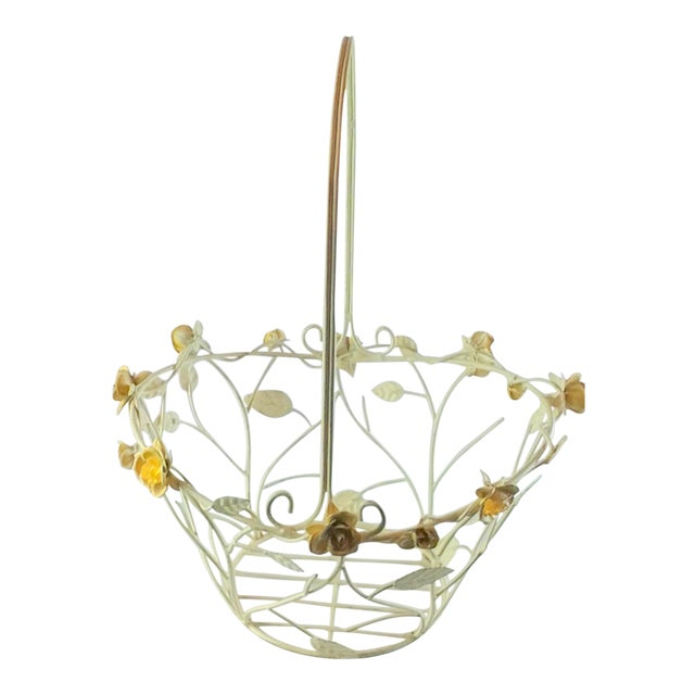 Vintage Metal Basket With Glass Beads For Sale