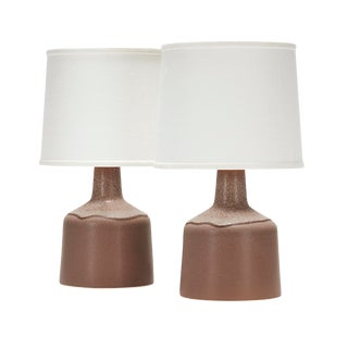 Martin Lamp in Seal Glaze With Neck Detail - a Pair For Sale