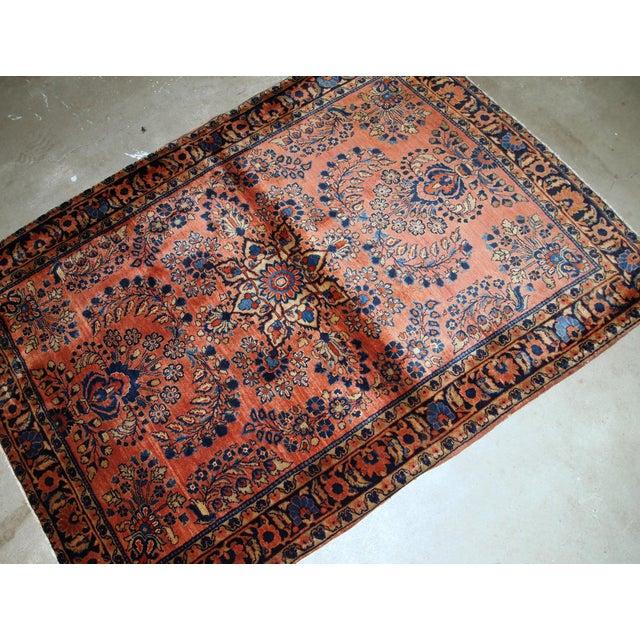 Persian 1920s, Handmade Antique Persian Sarouk Rug 3.3' X 5.5' For Sale - Image 3 of 9