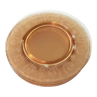 Amber Etched Glass Lunch Plate