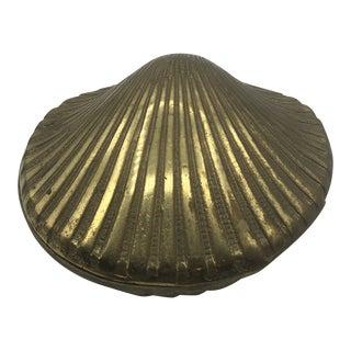 1980s Vintage Brass Shell Trinket Box For Sale