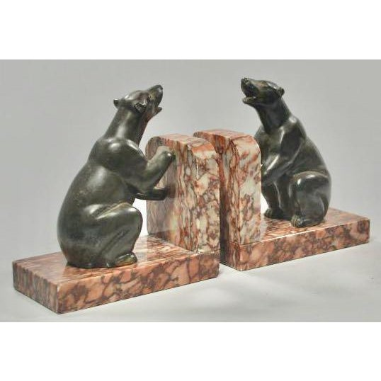 1930s French Art Deco Polar Bear Bookends - A Pair For Sale - Image 5 of 6