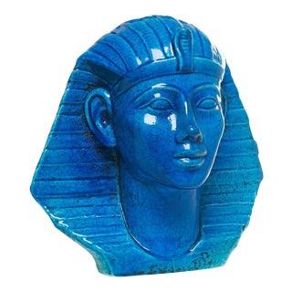 Persian Blue Glaze King Tutankhamun Ceramic Bust by Ugo Zaccagnini For Sale