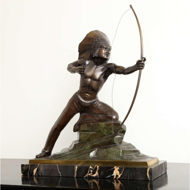 French Art Deco Bronze Signed E. Guy For Sale - Image 10 of 10