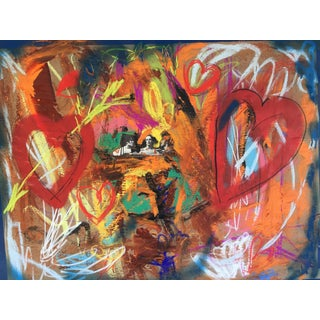 """""""Love's Threesome"""" Original Mixed Media on Paper by Erik Sulander 32x24 For Sale"""