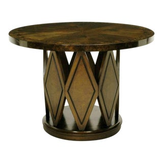 Burled & Figured Walnut End Table With Open Harlequin Base For Sale