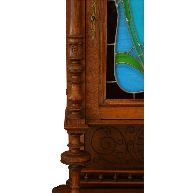 Antique Flemish Floral Stained Glass & Oak Hutch - Image 6 of 8