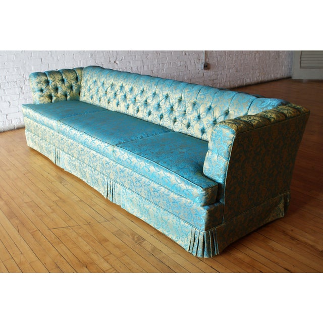 Harmony House Blue and Gold Tufted Sofa by Howard Palmer for Harmony House For Sale - Image 4 of 11