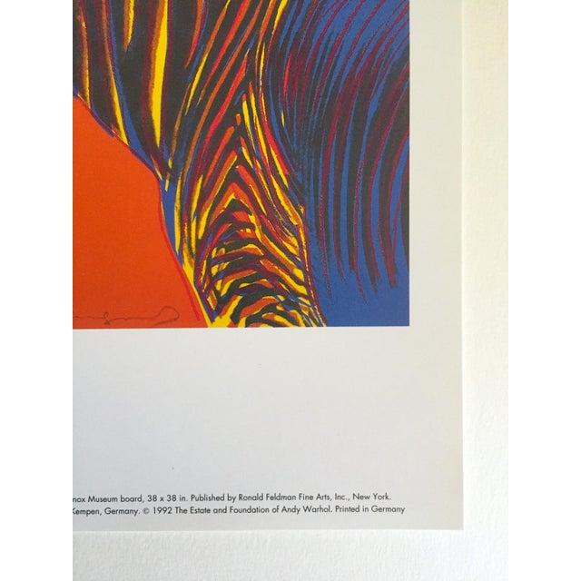 "Paper Andy Warhol Estate Rare Vintage 1992 Endangered Species Collector's Pop Art Lithograph Print "" Grevy's Zebra "" 1983 For Sale - Image 7 of 10"