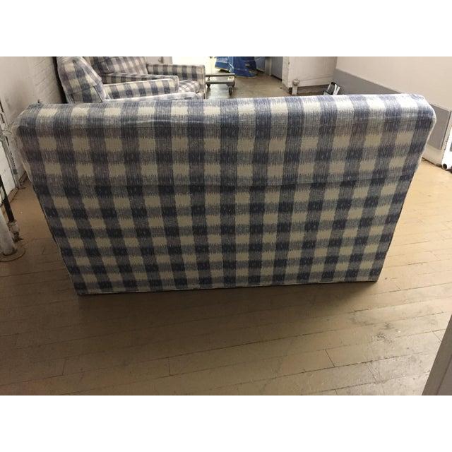 Blue Kravet Brunschwig & Fils Upholstered Down Filled Arm Chairs For Sale - Image 8 of 11