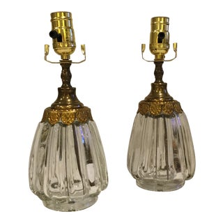 Vintage Italian Marble, Crystal, and Aged Brass Lamps - a Pair For Sale