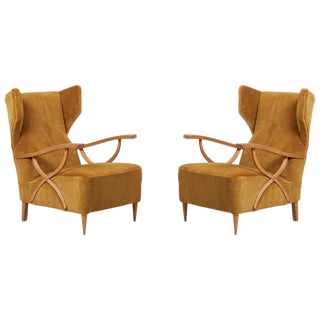 Newly Upholstered Pair of Lounge Chairs in Manner of Paolo Buffa, Italy For Sale