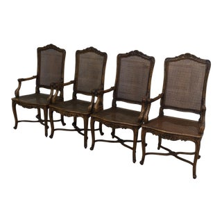Vintage Cane and Carved Chairs- Set of 4 For Sale