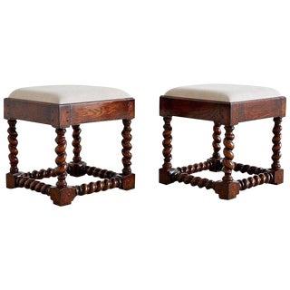 Pair of English Style Oak Barley Twist Footstools