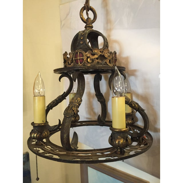 Metal Early 20th Century Wrought Iron Gothic Light Chandelier For Sale - Image 7 of 7