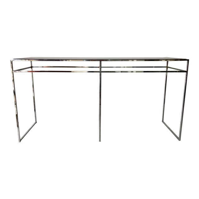 Milo Baughman Chrome and Smoked Glass Console For Sale
