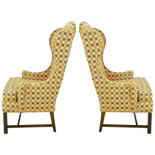 Pair of Clean Lined Autumn Plaid Wool Upholstered Wing Chairs With Mahogany Legs For Sale