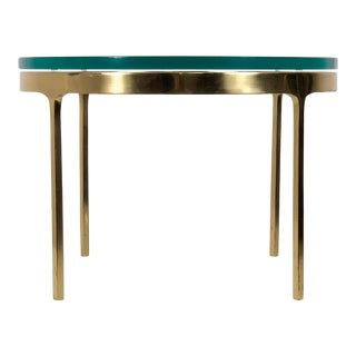 1970s Vintage Nicos Zographos Brass & Glass Side Table For Sale