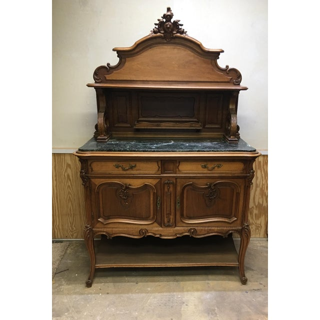 French 19th Century French Server Sideboard Hand Carved With Marble Top For Sale - Image 3 of 11