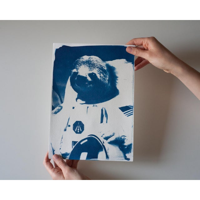 Limited Edition Cyanotype Print- Astronaut Sloth Meme For Sale - Image 4 of 4