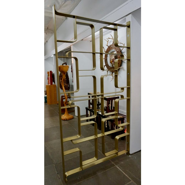 Metal Brass and Steel Room Dividers or Gates - a Pair For Sale - Image 7 of 7