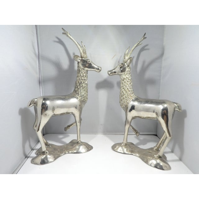 Pair of Miniature Silvered Brass Deer, Great Table Fare - a Pair sold as found previously owned in vintage condition.