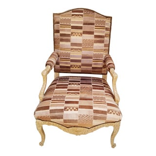 1990s J. Robert Scott Over Sized Chair With Geometric Design and Carved Details For Sale
