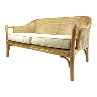 Boho Chic McGuire Woven Rattan Settee For Sale