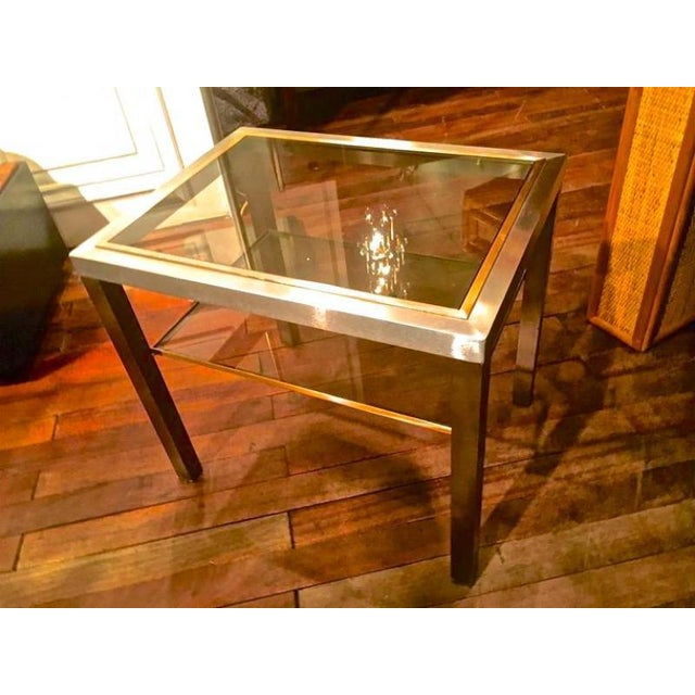 1950s Guy Lefevre Pair of Pure Two Tiers Side Table in Brushed Steel and Bronze For Sale - Image 5 of 6