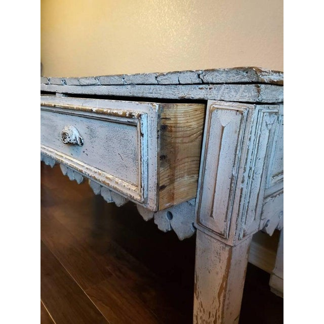 Antique Distressed Painted Plank Top Console Table For Sale - Image 9 of 11