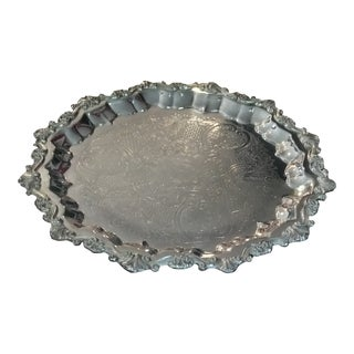 Baroque Silver Plate Round Tray by Gorham E.P For Sale
