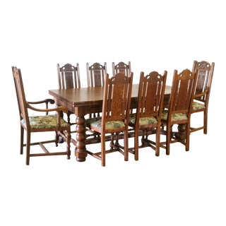 Antique Oak Large Refractory / Draw Leaf Table Dining Set For Sale