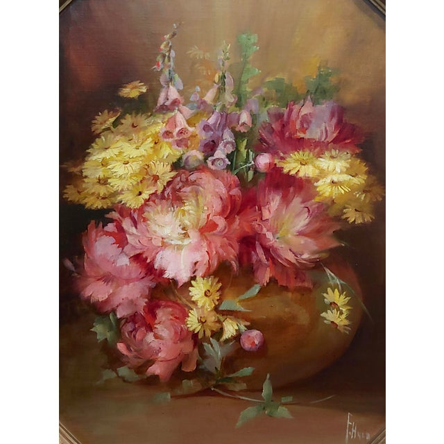 The American School Florine Hyer - Beautiful Still Life of Flowers - Oil Painting -C1900 For Sale - Image 3 of 9