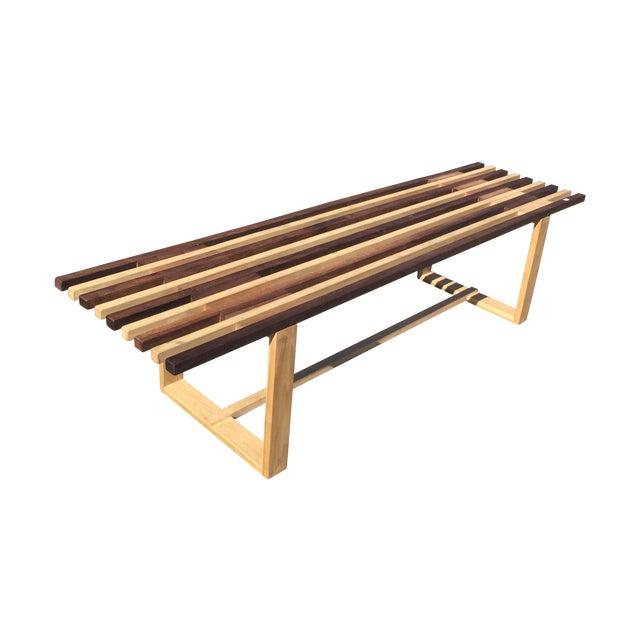 Mid-Century Style Handmade Slat Bench - Image 1 of 7