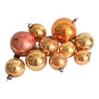 Vintage Sunny Yellow & Gold Christmas Ornaments - Set of 10 For Sale
