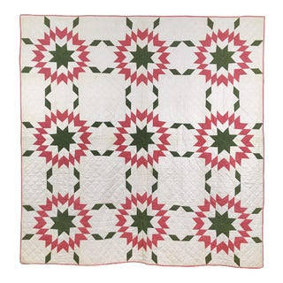"Antique ""Touching Star"" Pattern Quilt in Pink & Green, 1870s"