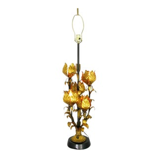Large Gilt Metal Table Lamp with Foliate Detail For Sale