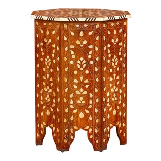 Damascene Octagonal Inlaid Side Table For Sale