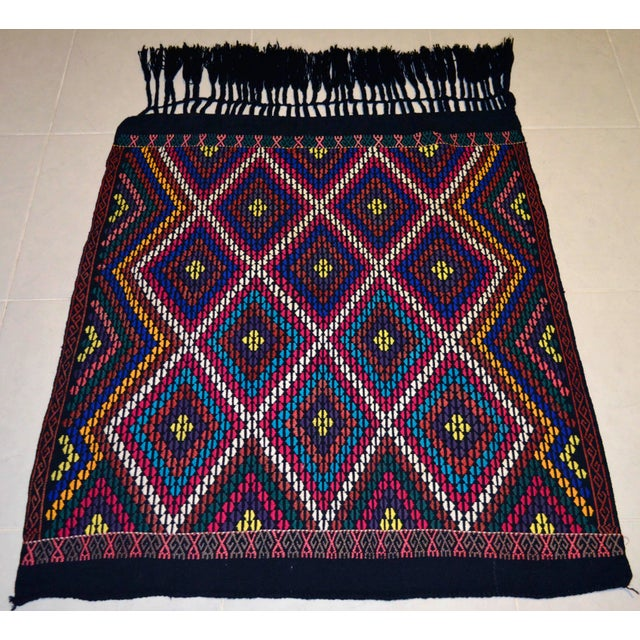 Turkish Hand Woven Kilim Rug/Braided Wall Hanging - 3′2″ X 3′5″ For Sale - Image 5 of 9