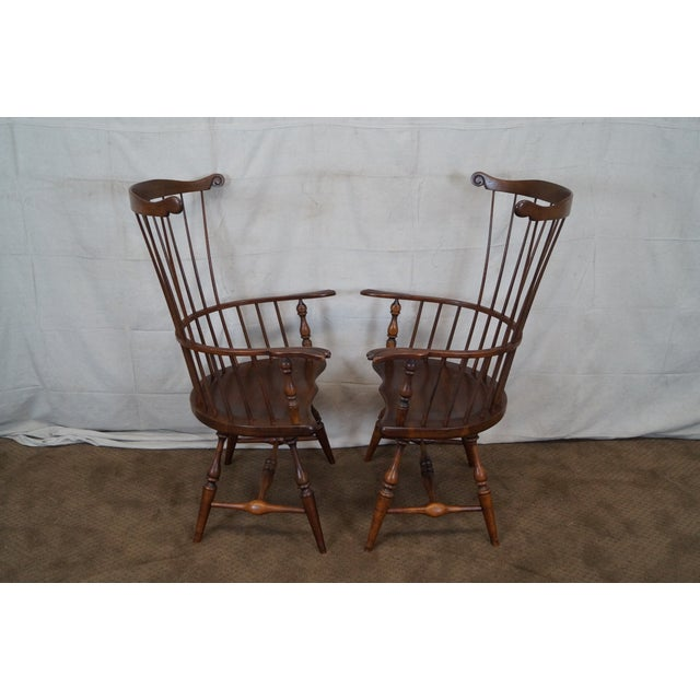 Custom Fan Back Windsor Arm Chairs - A Pair - Image 3 of 10