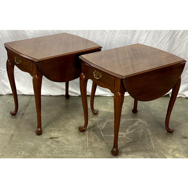 Vintage Pair of Pembroke Drop Leaf Side Tables by Drexel featuring Sturdy Solid Cherry Wood Construction, Solid Brass...