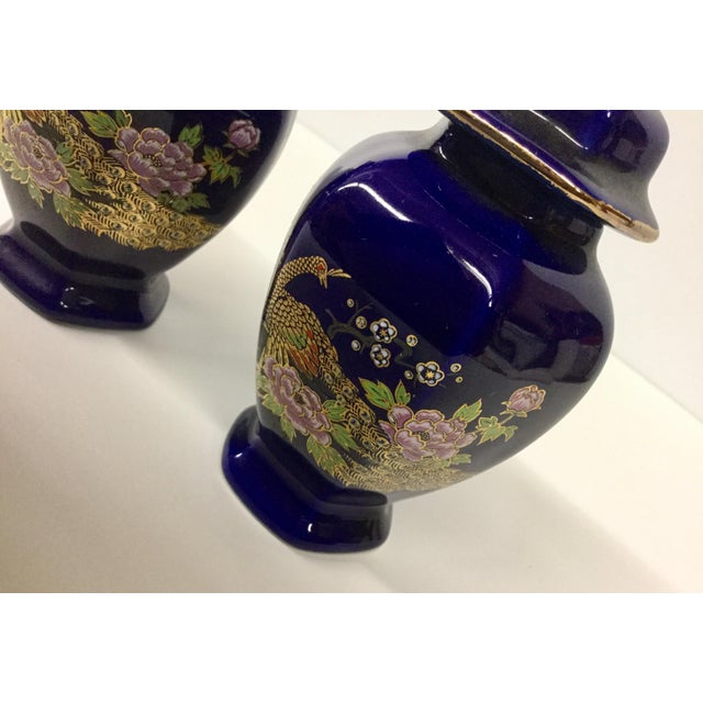 Mini Japanese Cobalt Ginger Jars - A Pair For Sale - Image 4 of 11