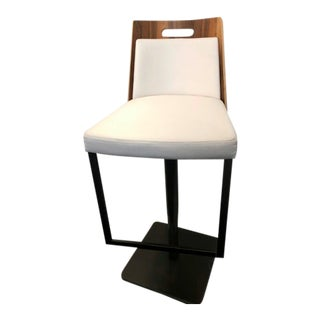 Contemporary Wood Back White Upholstered Adjustable Barstool For Sale