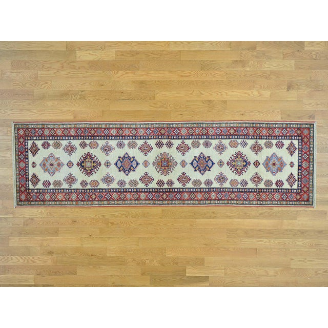 Kazak Ivory Hand Knotted Pure Wool Rug- 2′10″ × 10′ For Sale In New York - Image 6 of 6
