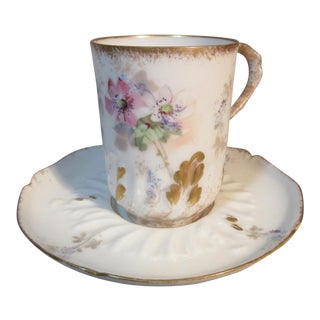 1890s p.h. Leonard Limoges Chocolate Cup and Saucer With Fluted Swirls & Flowers For Sale