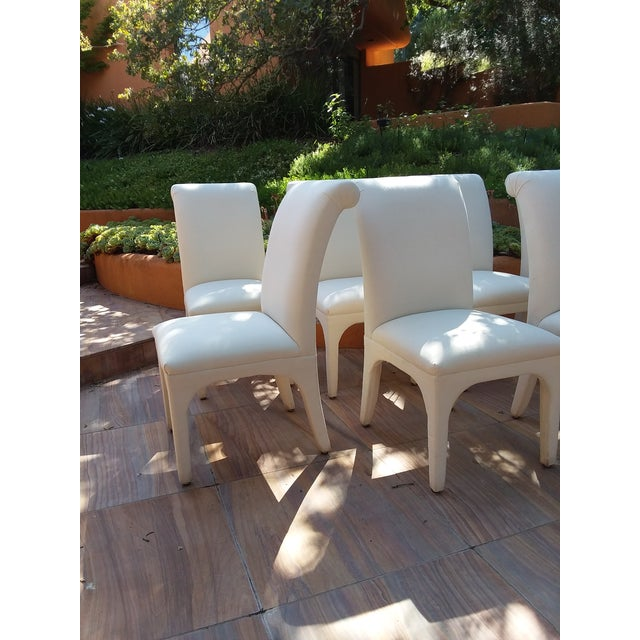 1980s Vintage Upholstered Parsons Chairs - Set of 8 For Sale In San Francisco - Image 6 of 13