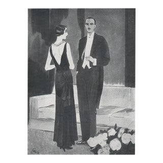 Pair-Matted 1929 Art Deco Chanel Fashion Prints For Sale