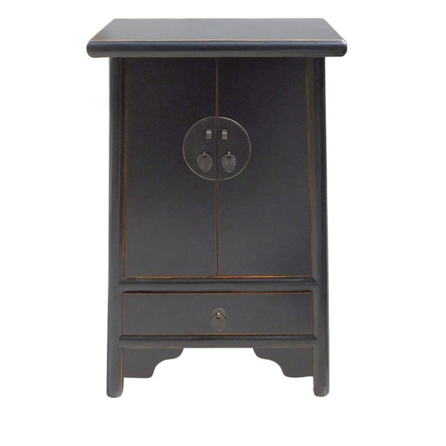 Chinese-Style Tapered Black Nightstand - Image 1 of 5