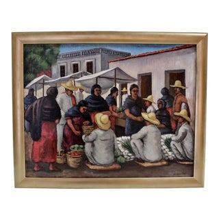 """Taxco Market"" 1936 Max Arthur Cohn Painting"