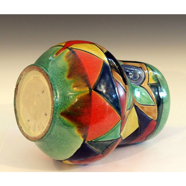 Awaji Pottery Art Deco Japanese Mock Cubist Fractured Picture Plane Vase Signed For Sale In New York - Image 6 of 10